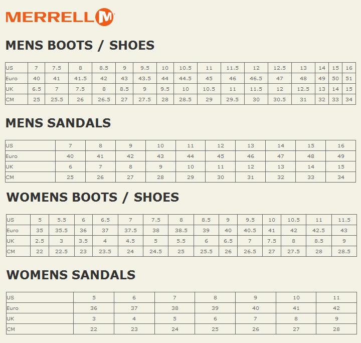 merrell size chart cm india
